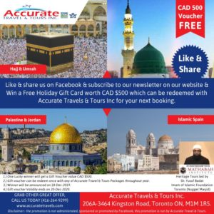 Like, Share, Subscribe & Win CAD 500 Voucher From Accurate Travel Tours